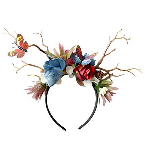 Lurrose asta flor pelo aro reno diadema corona de mariposa guirnalda floral corona halo tocado para fiesta de navidad disfraz festival de boda accesorios de fotografía tocado
