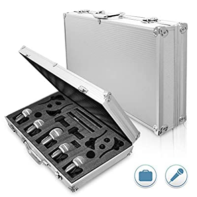 PYLE-PRO Pyle 7-Piece Wired Dynamic Kit-Kick Bass, Tom/Snare & Cymbals Microphone Set-for Drums, Vocal, & Other Instrument-Complete with Thread Clip, Inserts, Mics Holder & Case-PDKM7