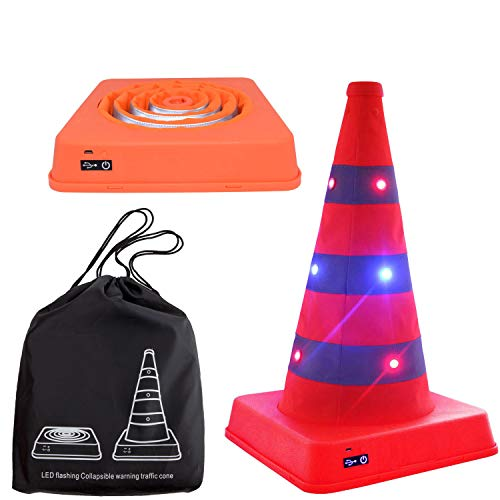 Premium LED Light Up Flashing Collapsible Traffic Cone USB Rechargeable 16 Inches Heavy Duty Reflective Training Road Cone for Safety Soccer Football Sport Event Multipurpose Markers, 2 Flashing Modes
