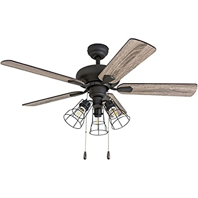 """Prominence Home 50588-01 Madison County Industrial Ceiling Fan, 42"""", Barnwood/Tumbleweed, Aged Bronze"""