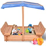 Costzon Kids Foldable Wooden Sandbox with Canopy, Children Outdoor Playset for Backyard, Home, Lawn, with 2 Convertible Bench Seats, Non-Woven Fabric Cloth, Cedar Square Cabana Sandbox (55-Inch)