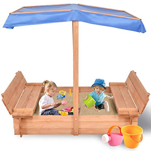 Costzon Kids Foldable Wooden Sandbox with Canopy, Children...