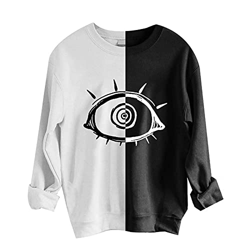 Women Halloween Skull Sun Moon Print Vintage Sweatshirt Half Color Pullover Long Sleeve Crewneck Loose Fit Blouse Shirt Black