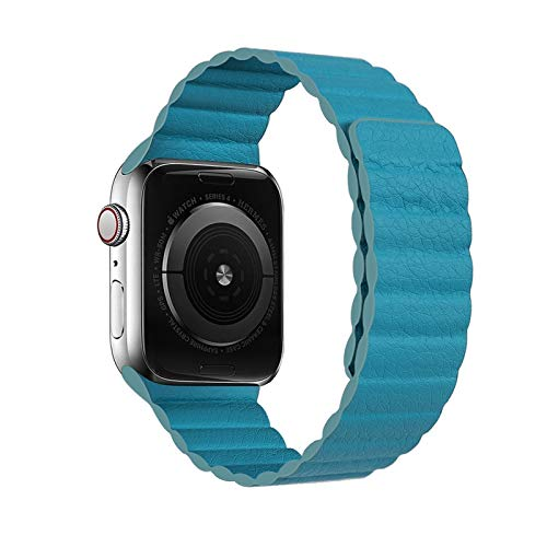 Bucle de cuero for Apple Watch Band 44mm 40mm 38mm 42mm accesorios pulsera magnética pulsera de cinturón for iWatch Serie 3 4 5 SE 6 correa ( Band Color : Blue green , Band Width : 38mm or 40mm )