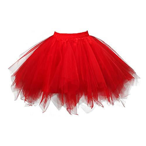 Topdress Women's 1950s Vintage Tutu Petticoat Ballet Bubble Skirt (26 Colors) Red XL