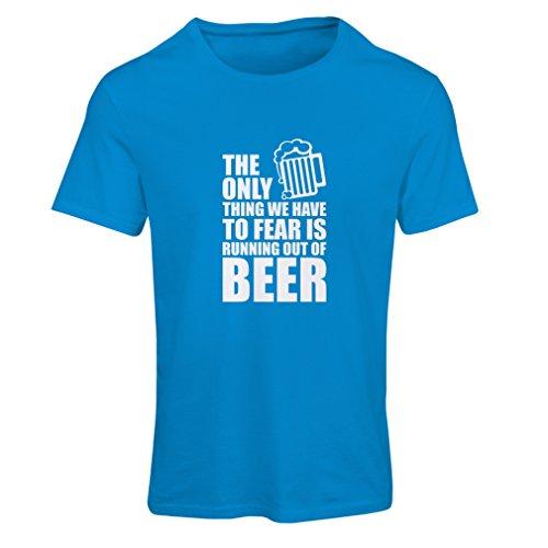lepni.me Camiseta Mujer Tener Miedo de no Tener una Cerveza - para la Fiesta, Bebiendo Camisetas (X-Large Azul Blanco)
