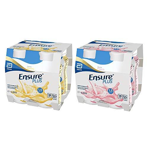 Ensure Plus Supplemento Nutrizionale Formato Bevanda | Confezione 4x200ml | Gusto Banana + Ensure Plus Supplemento Alimentare Formato Bevanda | Confezione 4x200ml | Gusto Fragola