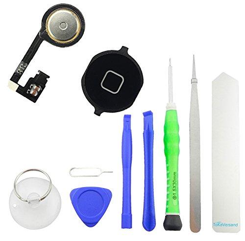 TOKA-VERSAND® - Homebutton für iPhone 4S Schwarz Home Button mit Flexkabel, Kleber [Dichtung], Pinzette mit 9X teiliges Werkzeug Set [magnetisch] 10in1 Taste Schalter Knopf