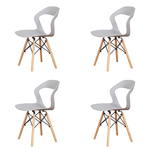 Juego de 4/6 piezas, silla de comedor estilo nórdico, blanco, negro, gris, amarillo, azul, etc., ideal para cocina, comedor, cafetería, salón, balcón, terraza y otros lugares (gris-J, 4)