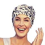 Christine Headwear Gorro Lotus con bambú Estampado con Estampado Leopardo para Mujeres en Tratamiento de quimioterapia