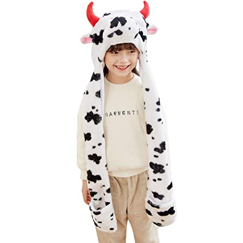 PULAMA Milk Cow Plush Animal Hat Costume Anime Cosplay Cap with Mittens - Fits Adults and Children - Perfect for Cold Breezy Winter Weather