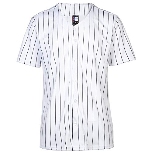 MOLPE Women Hip Hop Hipster Button Down Baseball Jersey (White-Stripe, M)
