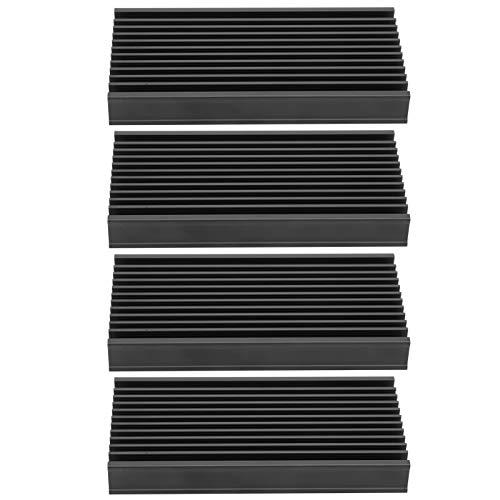4st 2 X 0,5 X 4in Aluminium Kylfläns Kylfläns Kylfläns för Kretskortchip med Slitsade Fina Tänder för Router CPU-förstärkare Strömförsörjningsmodul Moderkort Transistorrör Power Board