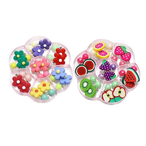 Toyvian 14 paia orecchini per bambini squisiti orecchini a clip orecchini a forma di fiore e frutta orecchini a bottone per regalo di compleanno per ragazze