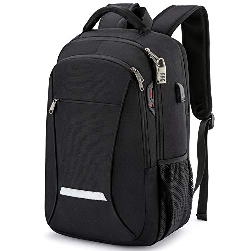 Laptop Backpack, Anti-Theft Business Travel Work Computer Backpack with USB Charging Port, Large Lightweight College School Bag Black 45 * 20 * 30Cm