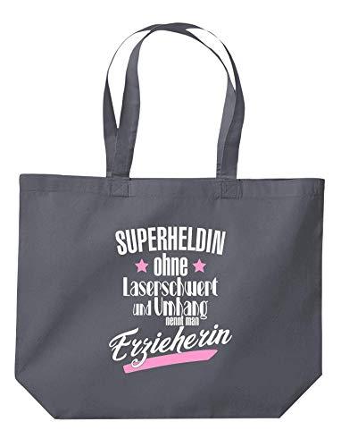 Shirtinstyle Beutel Tasche, Superheldin ohne Laserschwert und Umhang nennt Man Erzieherin, Jute, Shopper, Beutel, Tasche, Kita Schule Hort Abschluß Abschied, Farbe Dunkelgrau