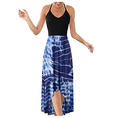 Banbry Rockabilly Kleider Damen Sommerkleid Böhmisch Ärmelloser Blumenkleid Halfter und V-Ausschnitt Hohe Taille Partykleid Asymmetrische Patchwork Maxikleider Lose Strandkleid