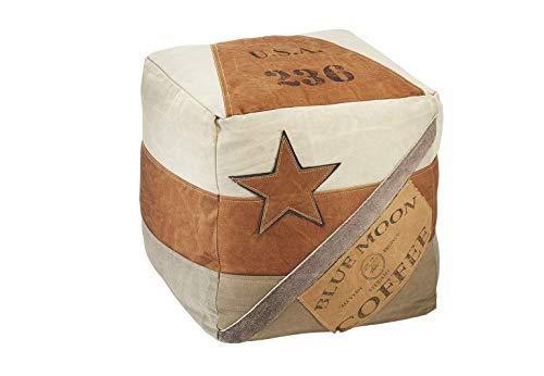 Kobolo Bequemer Sitzpouf Pouf Sitzwüfel Hocker Coffee aus Canvas m Applikationen