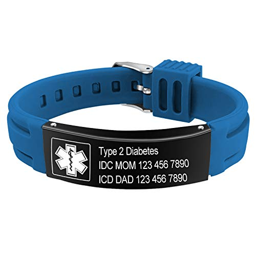 Personalised Medical Alert Bracelet for Women Men, Mens Silicone Bracelet Engraving Medical Details ID Name Numbers Allergy SOS Awareness Bracelets with Gift Box (Blue1)