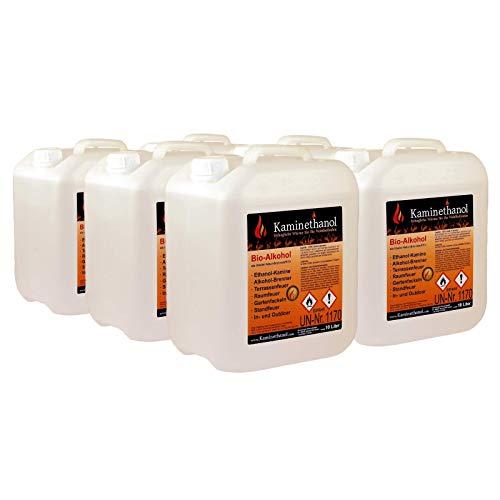 Kaminethanol Icking 60 Liter Bioethanol 100% (6 x 10 L) Premium Qualität - direkt vom Hersteller für Ethanol Kamine, Alkohol-Brenner, Terrasenfeuer, Raumfeuer und Gartenfackeln