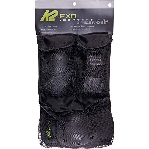 K2 Skates Unisex – Erwachsene Schonerset Exo Adult Pad Set — black - grey - green — L (Knee: A:42 - 46cm B:37 - 40cm / Elbow: A:28 - 31cm B:27 - 30cm / Wrist: A:23 - 25cm B:20 - 22cm) — 30E1230