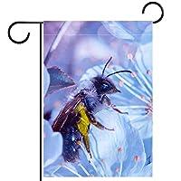 ガーデンヤードフラッグ両面 /28x40in/ ポリエステルウェルカムハウス旗バナー,蜂の花
