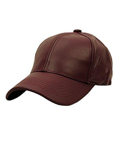 NYFASHION101 Unisex Adjustable Genuine Leather Baseball Cap Hat, Made in USA, Burgundy