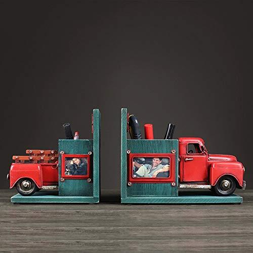 Sikungjlk Serre Livre Bureau Bookend Stand Retro Tin Truck Book Lean Modèle Chambre Étude décoration de Bureau Accessoires de Rangement Bureau à Domicile pour la décoration des étagères