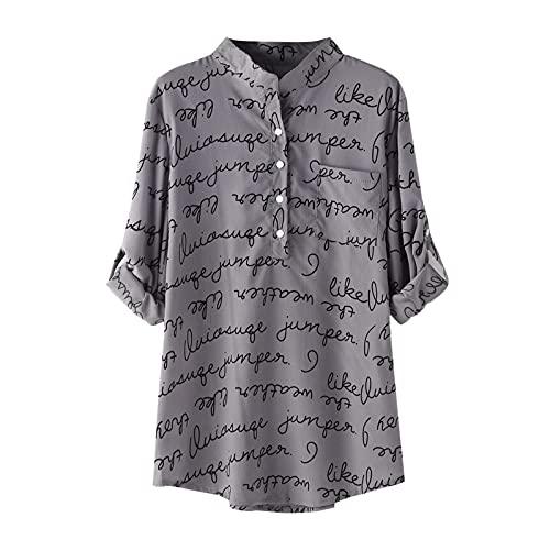 TYTUOO De las mujeres de otoño de manga larga de la letra de la impresión botón de vuelta hacia abajo de cuello camisas blusas tops jersey roll up manga suelta moda, A-gris, S
