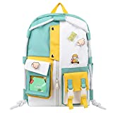 School Backpacks for Teen Girls Cute Bookbag Backpacks with Pocket, Fashion Casual Textbook Backpacks with Laptop Compartment for College High School Students (Green& White)