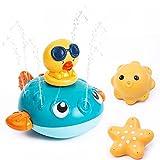 Thedttoy Badewannenspielzeug, Baby Badespielzeug Wasserspielzeug Baby ab 1 Jahr Pool Wasserdicht Kinder Wasserspielzeug Kugelfisch Elektrisches Wassersprüh Spielzeug für Kleinkinder Party Geschenk