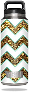 MightySkins Skin Compatible with YETI Rambler Bottle 36 oz – Glitzy Chevron | Protective, Durable, and Unique Vinyl Decal wrap Cover | Easy to Apply, Remove, and Change Styles | Made in The USA