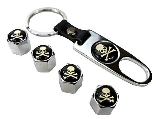 Garage-SixtySix - Juego de tapones de válvula con diseño de calaveras (cromados, incluye llavero)