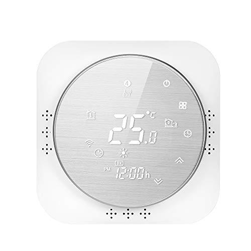 Termostato inteligente con Wi-Fi de 95-240 V, 5 + 1 + 1, termostato programable de seis períodos, control de aplicación de voz, retroiluminación LCD, termorregulador de calefacción de caldera,