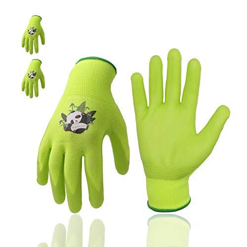 Guanti da giardinaggio per bambini, 3 paia di guanti da giardino con palmo rivestito in gomma, per bambini dai 2 ai 13 anni (taglia 5 (età 9-10), verde 3 paia)