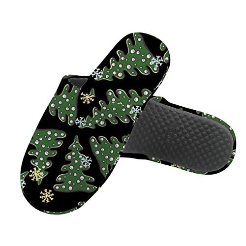 HUGS IDEA Zapatillas de algodón de lana para mujer, hombre, invierno, cálido, para el hogar, zapatos suaves, galaxia de perro de dinosaurio de Navidad, Árbol de Navidad, 43/43.5 EU