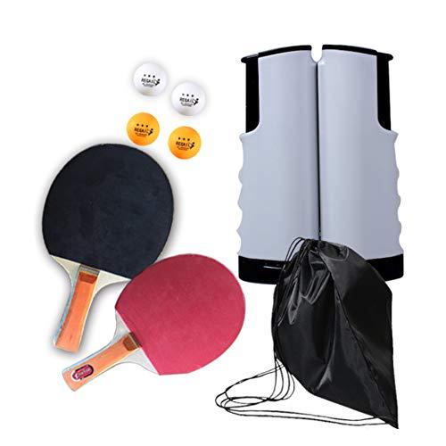 ZHLONG Conjuntos de Tenis de Mesa, Equipo de Niños Deportes, Multicolor telescópica Rack, Dos Raquetas y Pelotas de Tenis de Mesa Cuatro y Negro Bolsa de Almacenamiento,Black/Grey