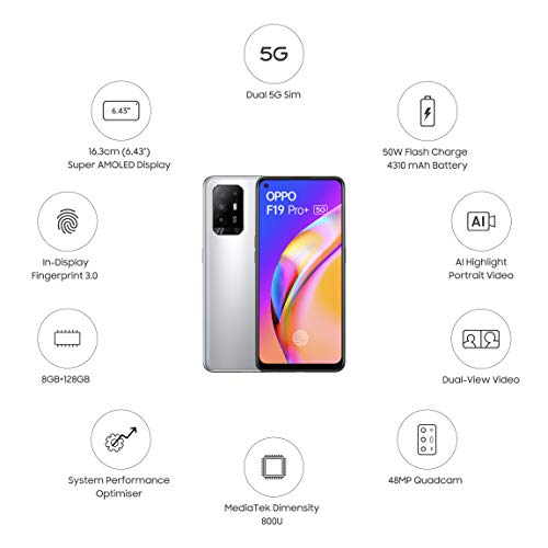 OPPO F19 Pro+ 5G (Space Silver, 8GB RAM, 128GB Storage) with No Cost EMI/Additional Exchange Offers