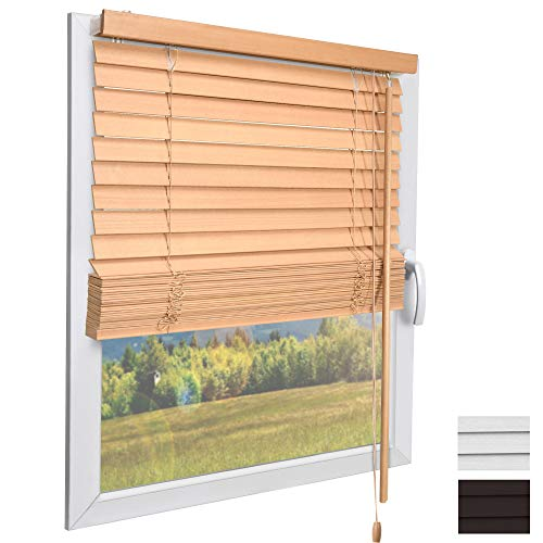 Sol Royal Holzjalousie SolDecor JH3 Jalousie aus Holz in Eichenoptik - 100x160 cm Tür- und Fensterjalousie Holz umweltschonend produziert - Jalousien Fenster