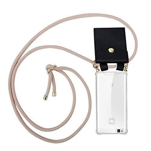 Cadorabo Handy Kette für Huawei P9 LITE in PERLIG ROSÉGOLD - Silikon Necklace Umhänge Hülle mit Gold Ringen, Kordel Band Schnur und abnehmbarem Etui – Schutzhülle