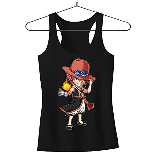 Débardeur Femme Noir Fairy Tail - One Piece parodique Ace et Natsu : L'Ultime Dieu du Feu !! (Parodie Fairy Tail - One Piece)