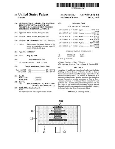 Method and apparatus for molding three-dimensional object and molding data generation method for three-dimensional object: United States Patent 9694542