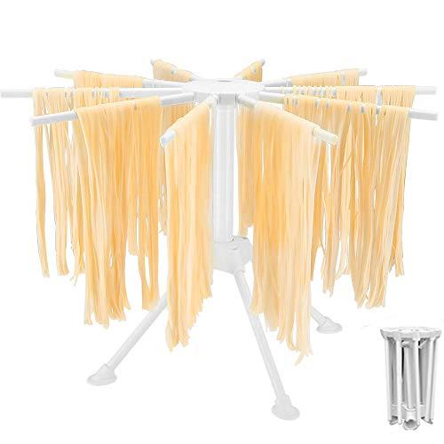 MOCOLI Stendipasta, Stendi Pasta Fresca Legno Stendipasta Pieghevole con Essiccatore per Noodle Domestico da 10 Bars, Compatto Luce Facile da Installare e Memorizzare (Bianca)