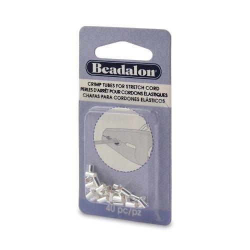 Beadalon 40-Piece Crimp Silver Plate Stretch Cord, 1.0mm