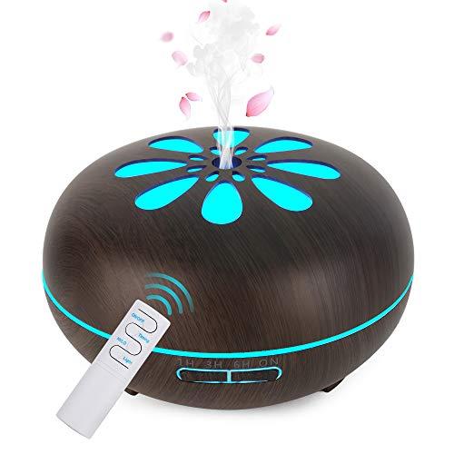 GeeRic Aroma Diffuser, 550ML Luftbefeuchter Ultraschall Vernebler,Raumbefeuchter Aromatherapie Öle Duftlampe mit 7 Farben LED Dunkles Holz