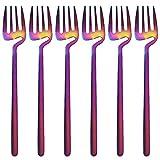 GrandGift Juego De Tenedores De Postre De Acero Inoxidable 6 Unids/Set Tenedores De Cena De Mango Largo Tenedores Coloridos Coreanos Mate Tenedor De Pastel De Frutas para Fiestas De Cocina