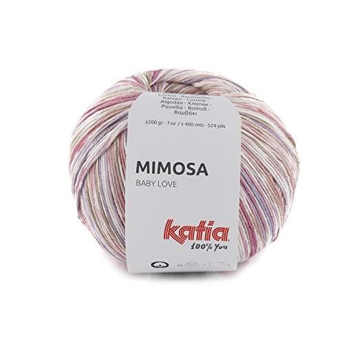 Katia Mimosa - Ovillo de lana para bebé, color 301, 200 g, hilo de algodón, lana de verano con degradado de color Jacquard para punto o ganchillo