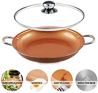 14 inch Non Stick Copper coated Ceramic Cooking Fry Pan 14''Wok Casserole set with Lid Dishwasher & Oven safe copper wok set