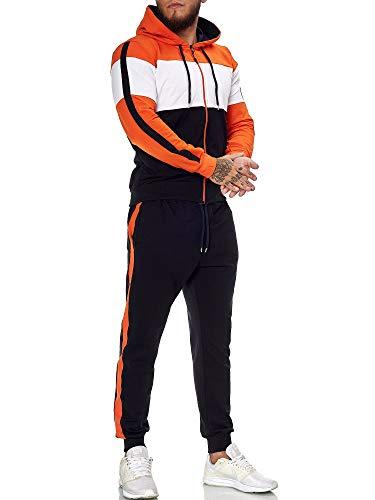 OneRedox | Herren Trainingsanzug | Jogginganzug | Sportanzug | Jogging Anzug | Hoodie-Sporthose | Jogging-Anzug | Trainings-Anzug | Jogging-Hose | Modell JG-1082 Weiss-Orange-Schwarz XL
