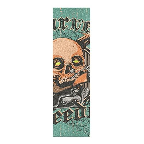 Arte De La Vendimia Retro Cráneo Papel de Lija para monopatín Antideslizante Skateboard Grip Tape Hojia Cinta de Agarre Lijas 84x23cm para Longboard Scooter